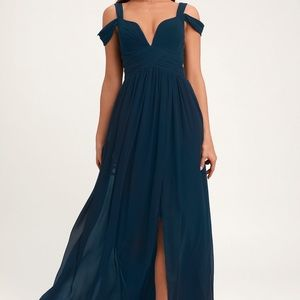 LIKE NEW WORN ONCE! OFF THE SHOULDER NAVY GOWN!
